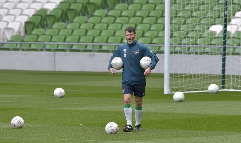 DUBLIN, IRELAND – JUNE 03: Republic of Ireland assistant manager Roy Keane (R) during an open training session at Aviva Stadium on June 3, 2015 in Dublin, Ireland. The Republic of Ireland play England in a friendly game this coming Sunday, the first meeting between the two sides in Dublin since the abandonment of a game in 1995 due to hooliganism. (Photo by Charles McQuillan/Getty Images)