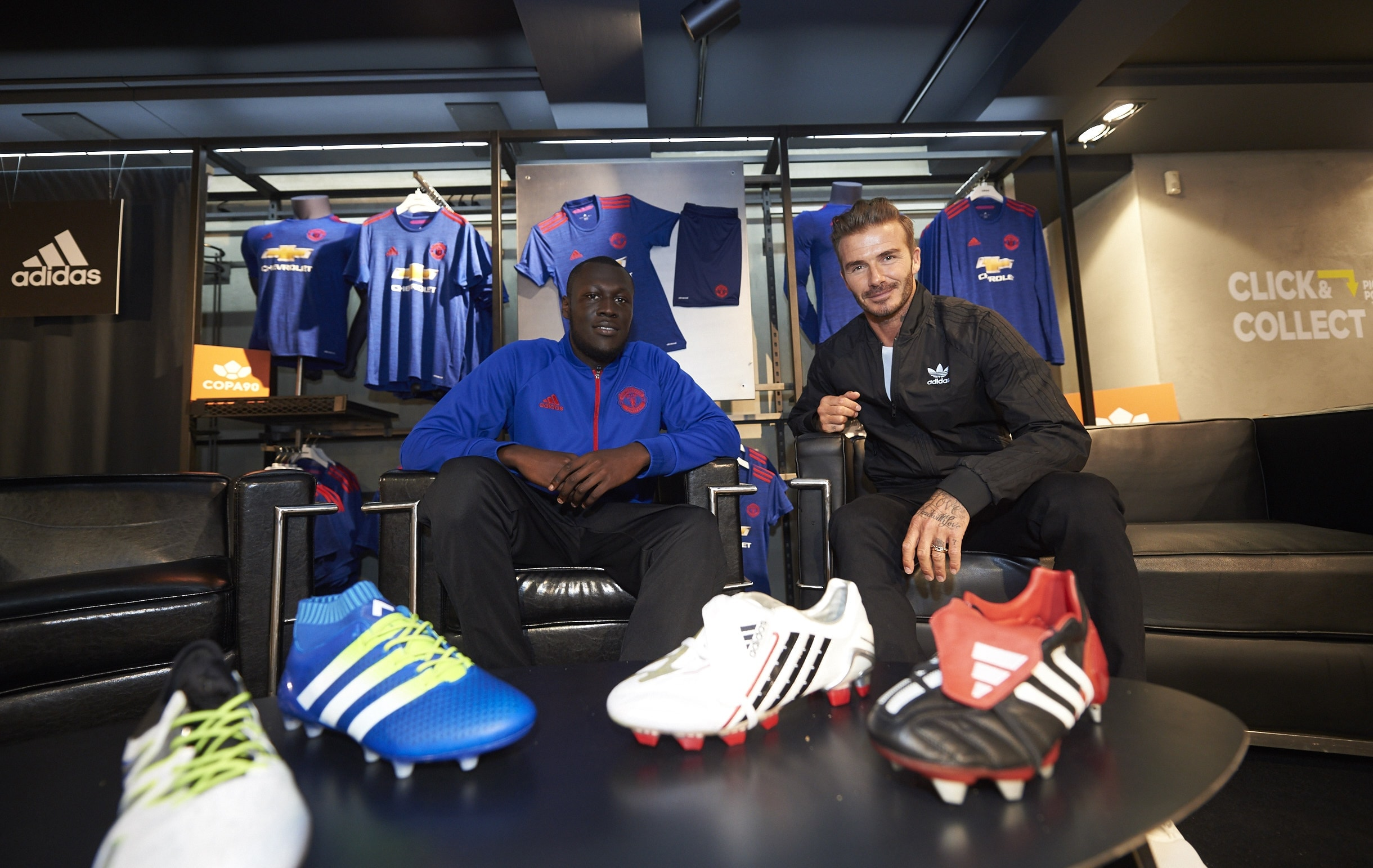 SURPRISE IN STORE: Lifelong Man Utd fan Stormzy meets his idol David Beckham on stage in the newly re-opened adidas store on Oxford Street (Credit: Ben Duffy / adidas UK)