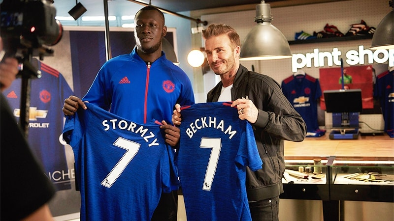 GRIME OF HIS LIFE: David Beckham and grime musician Stormzy show off the new Man Utd Away kit at  the refurbished adidas Store on Oxford Street (Credit: Ben Duffy / adidas UK)