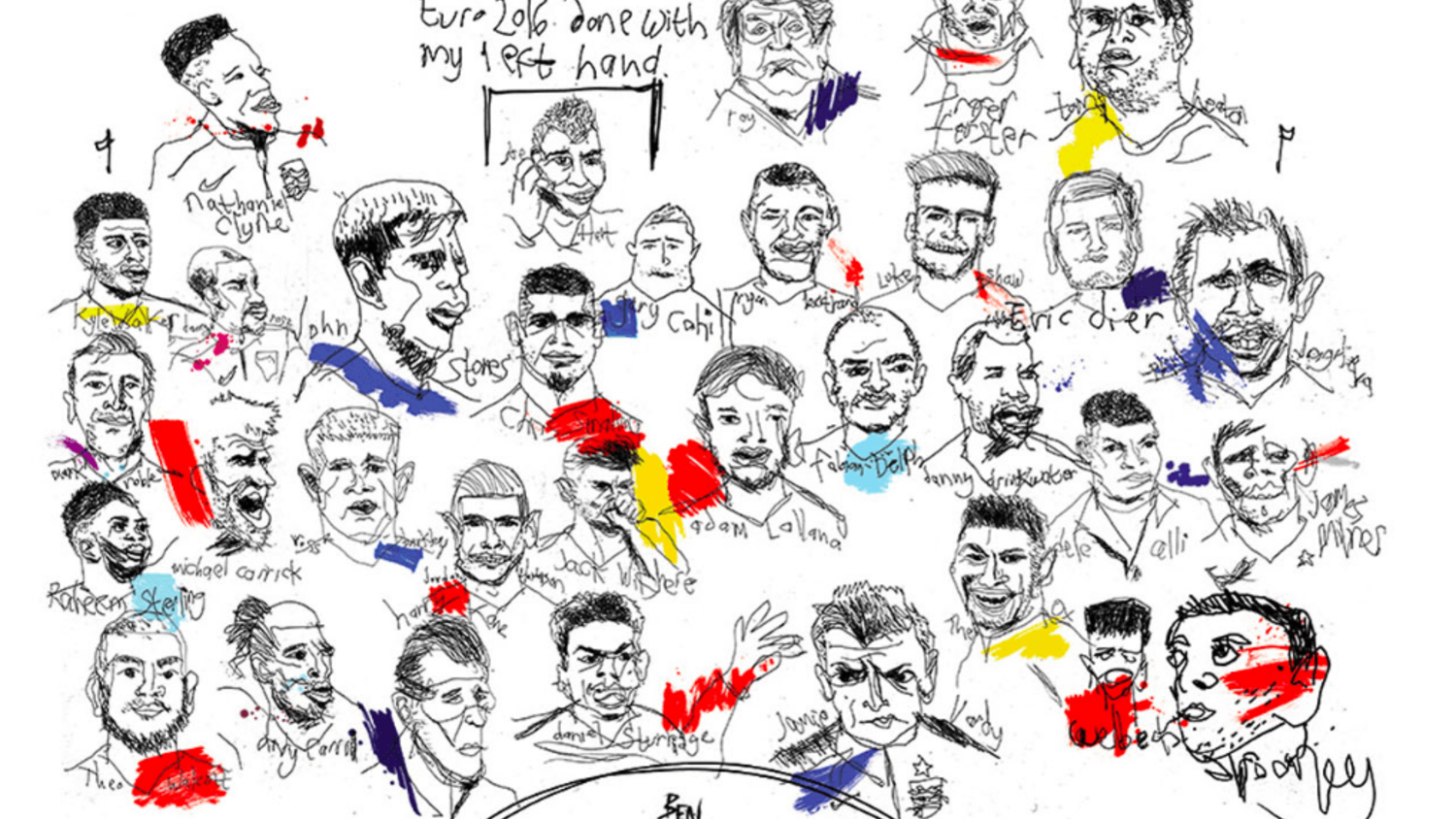 EURO 2016 BAD LEFT HANDED ENGLAND PORTRAITS BY BEN TALLON