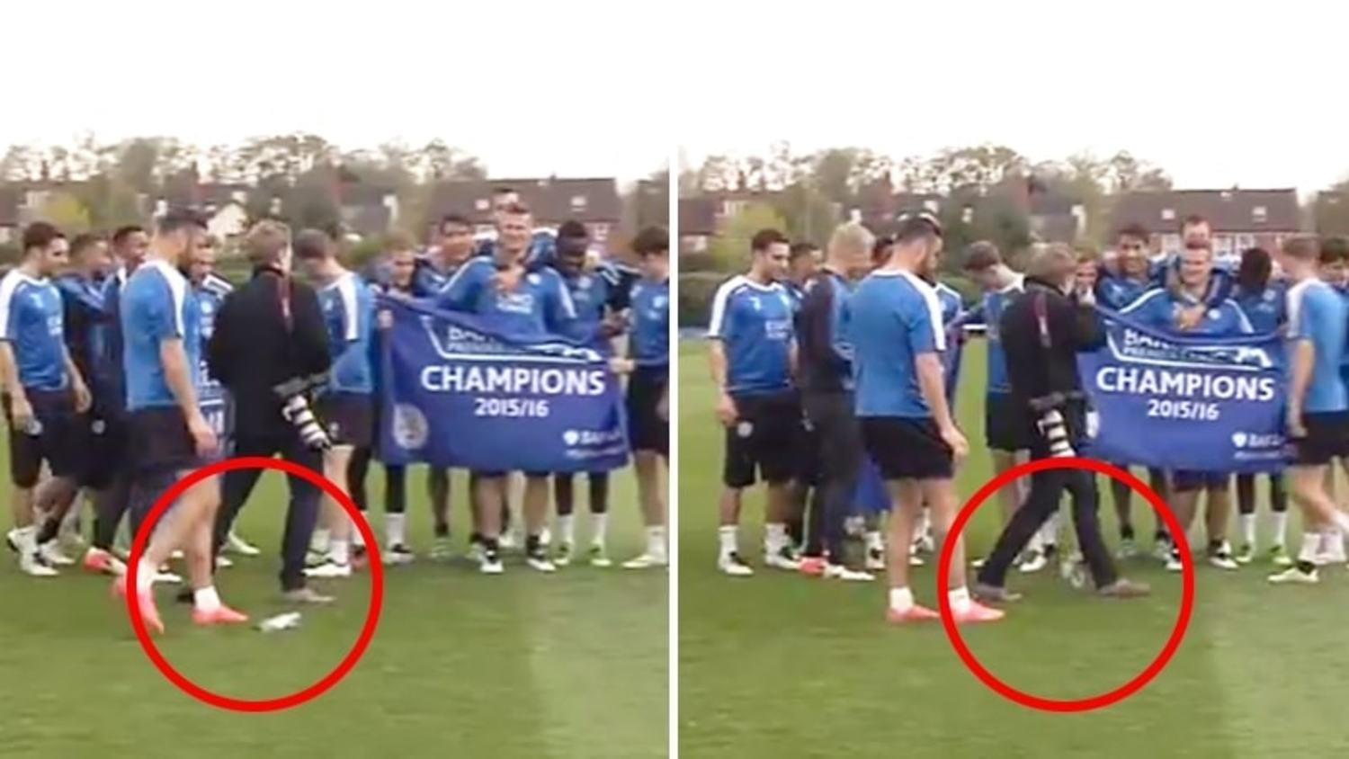 Leicester City Nutmeg Photographer THREE Times During Title Celebrations!