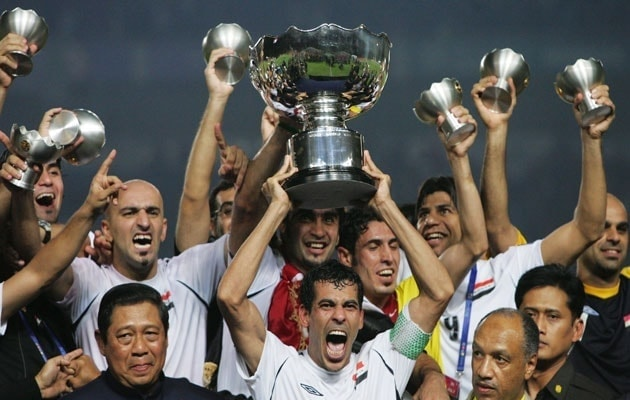 Iraq national team celebrate winning the Asian Cup in 2007
