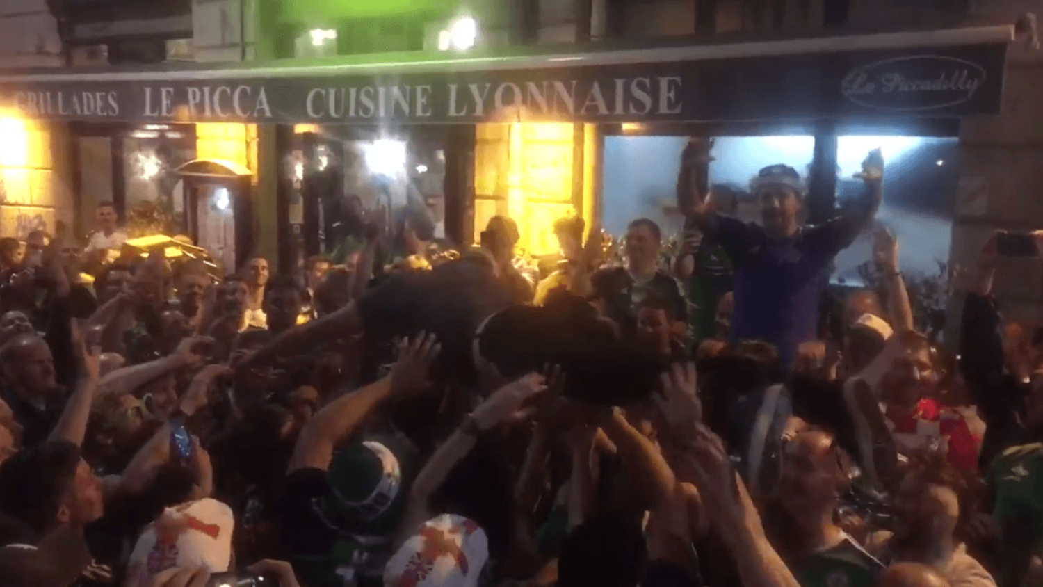 How Northern Ireland celebrated: Crowd Surfing Keith Gillespie & Sleeping with a Cone