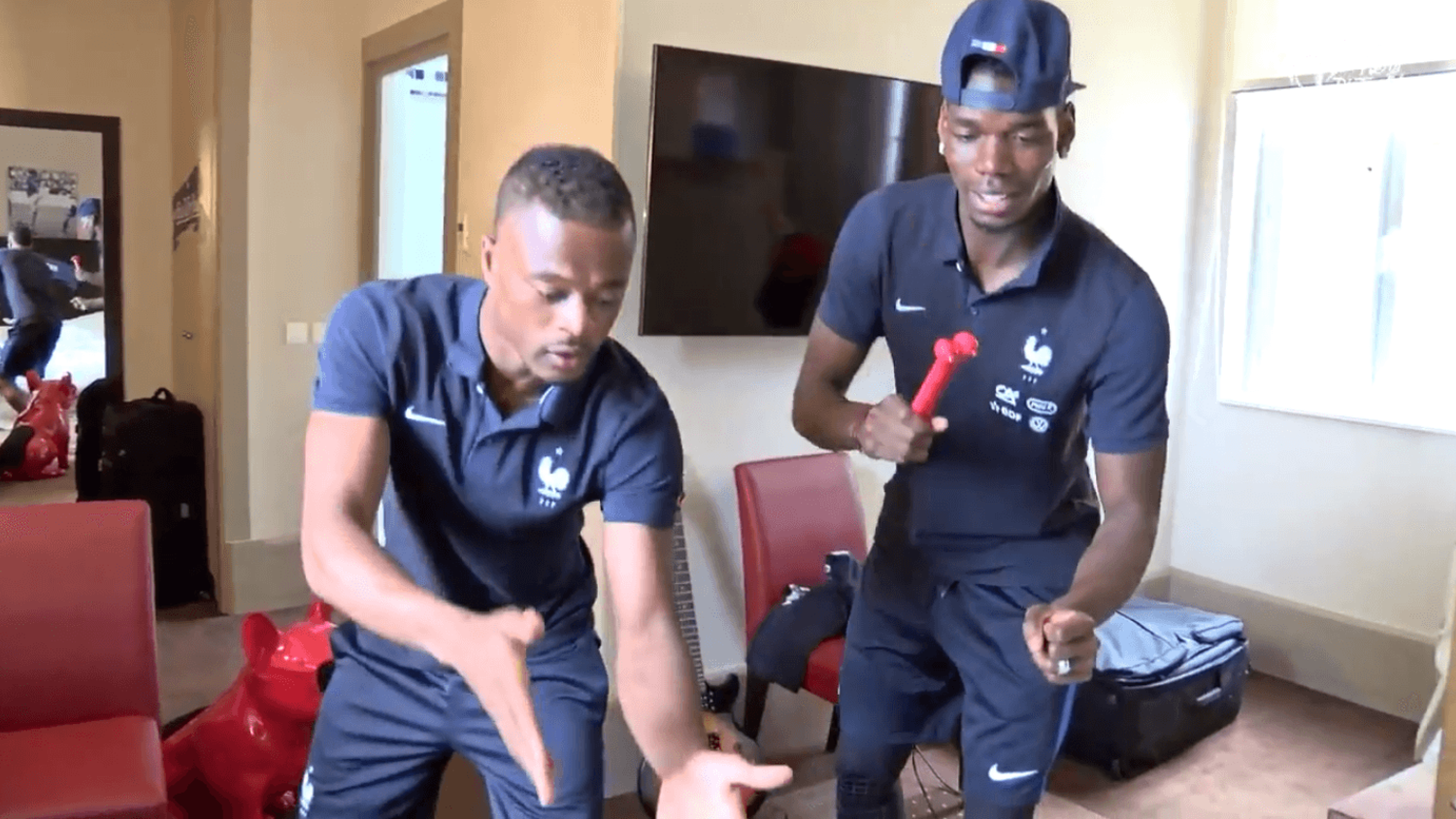 Paul Pogba and Patrice Evra show off their dance skills at France team hotel