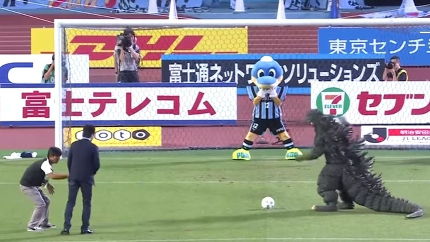 Godzilla Takes A Pre-Match Penalty In The J-League
