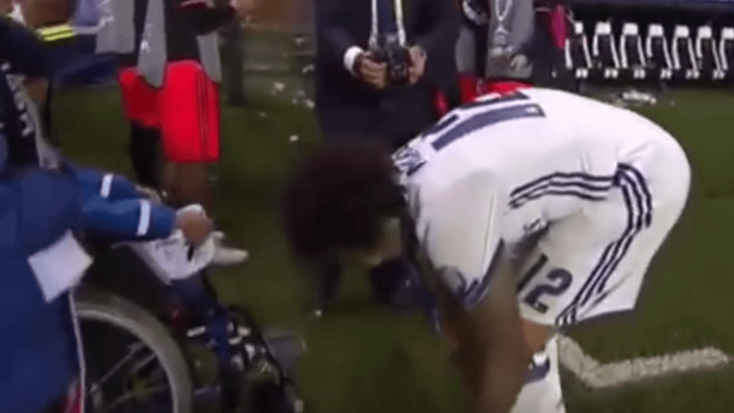 Real Madrid's Marcelo gives away boots to young fan after Super Cup victory