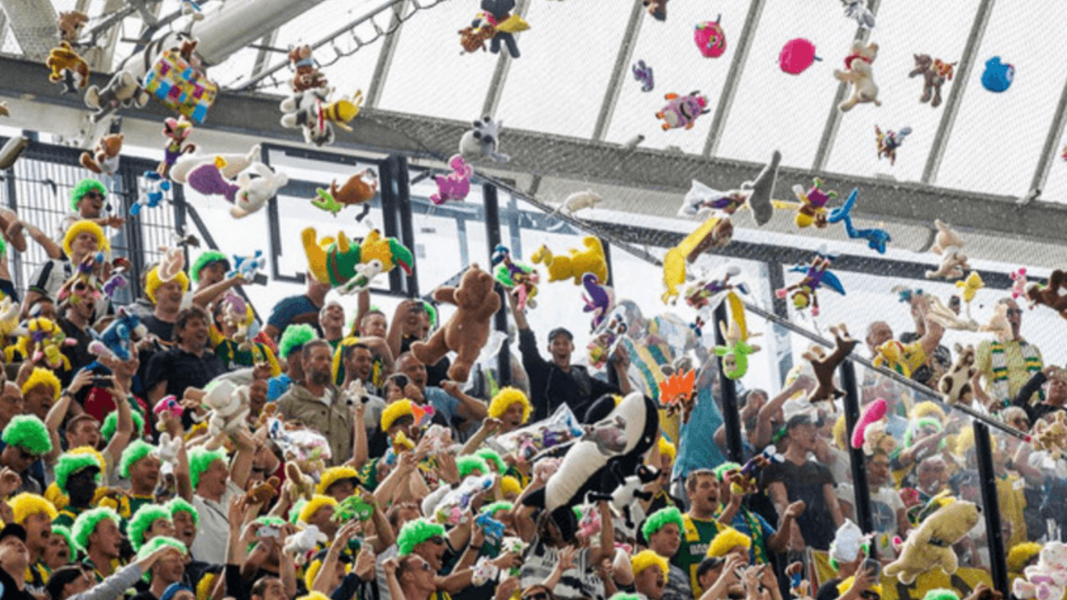 Den Haag Fans Shower Feyenoord Fans With Teddies