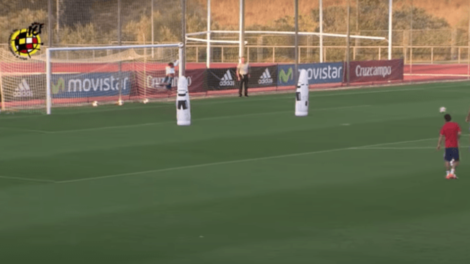 Alvaro Morata shows off goalkeeping skills in training with Spain
