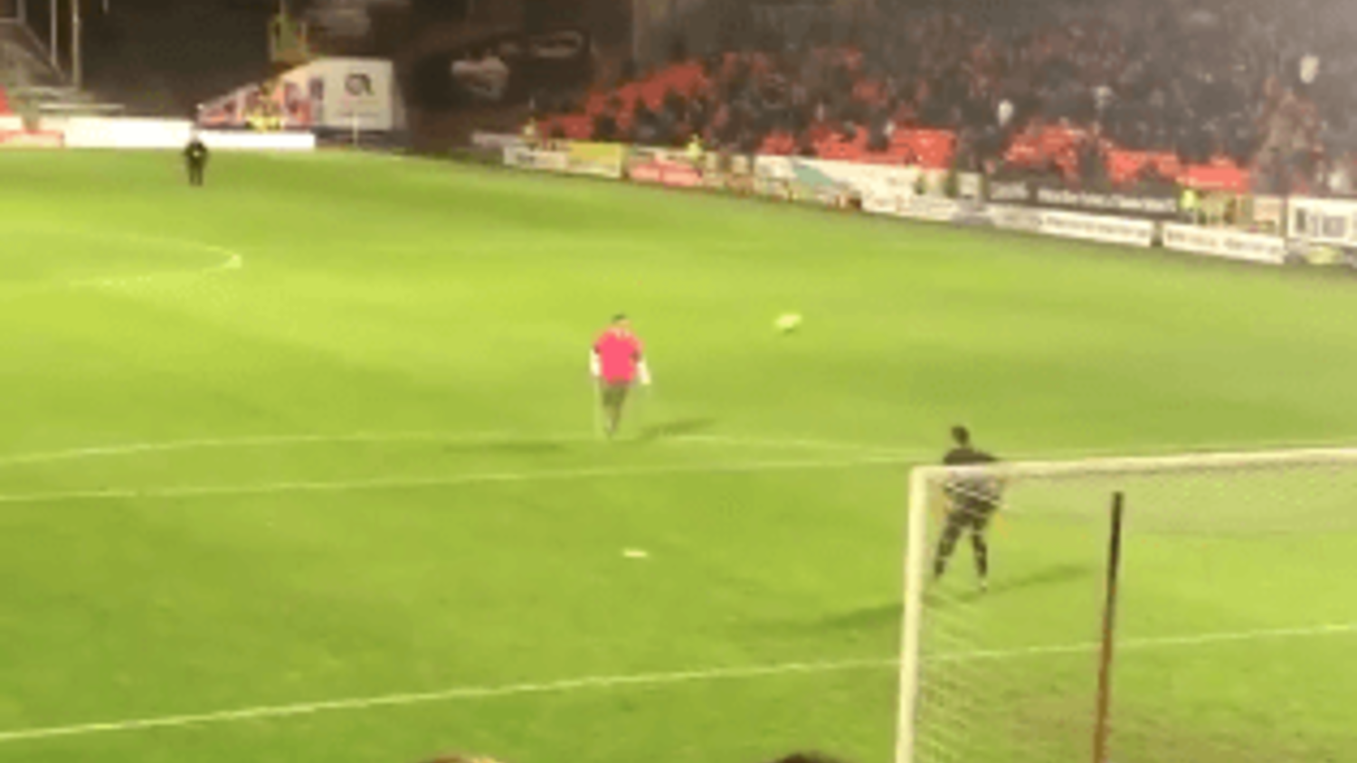 Fan with one leg scores worldie during half-time at Dundee United