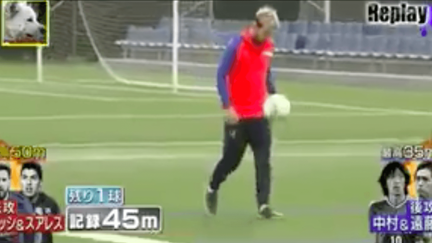 Suarez & Messi control 50 metre passes perfectly on Japanese TV