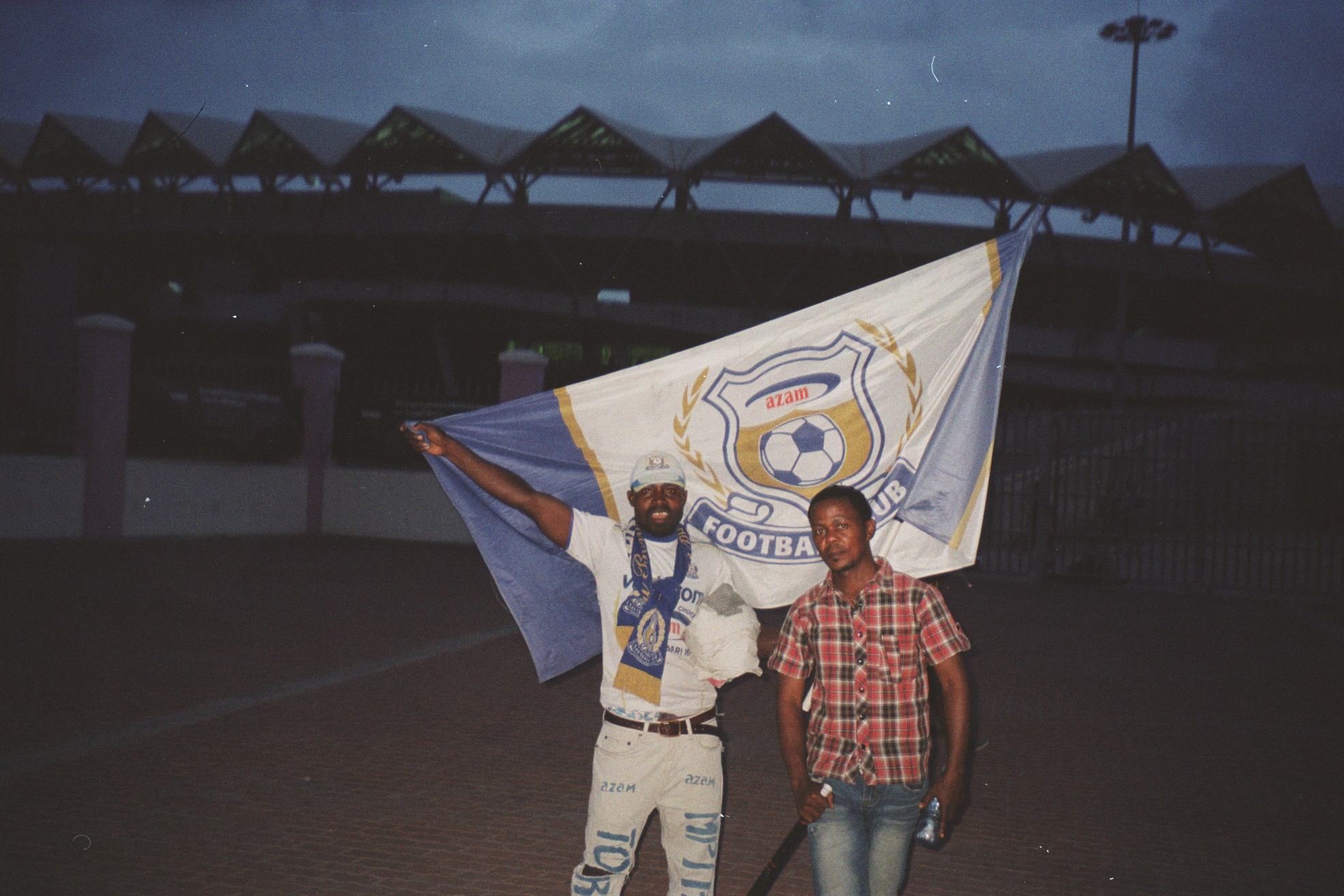 Azam fans outside the ground.